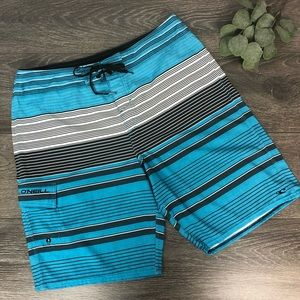 O'Neill striped swim trunk board shorts